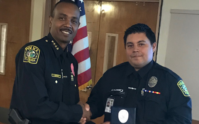 M-DSPD Officer Carlos Rodas Receives Officer Of The Month – August 2017